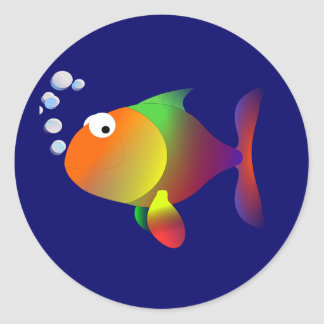 Funny happy fish classic round sticker