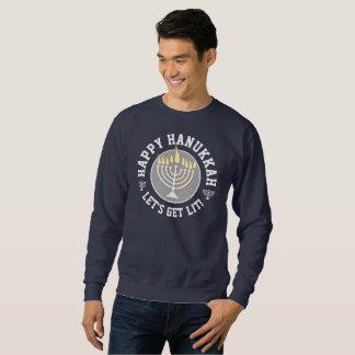 Funny Happy Hanukkah Let's Get Lit! Sweatshirt