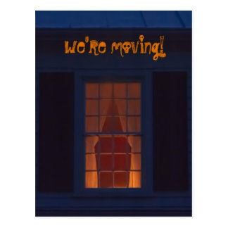 Funny Haunted House We're Moving Address Halloween Postcard