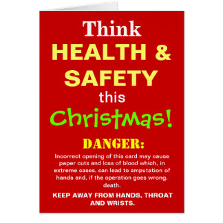Funny Health and Safety Christmas Warning Joke Card