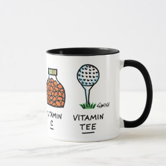 Funny Healthy Golfer Golf Ball Cartoon Vitamin Tee Mug