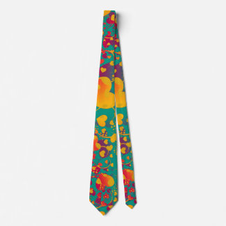 Funny Heart Pattern IX - green red yellow Tie