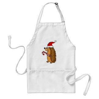 Funny Hedgehog in Santa Hat Christmas Art Standard Apron