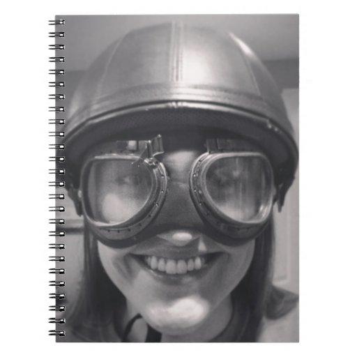 funny helmet spiral notebook