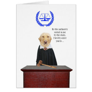 Funny Here Comes the Judge Dog Birthday Card