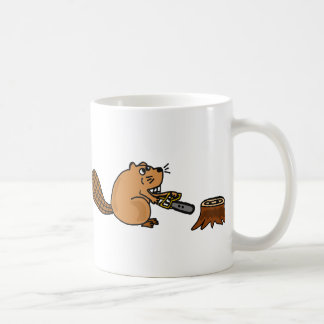 Funny High Tech Beaver with Chainsaw Coffee Mug