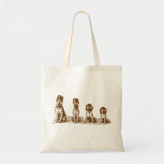Funny Hilarious Bulldogs Vintage Budget Tote Bag