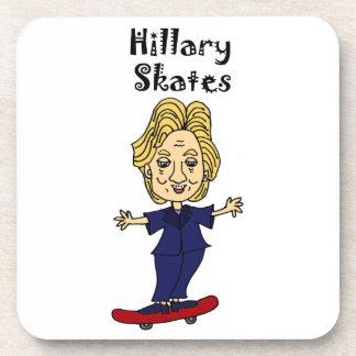 Funny Hillary Skates anti Hillary Political Art Drink Coasters