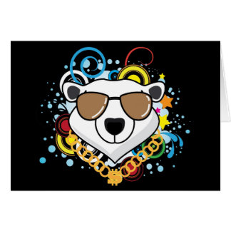 Funny Hip-Hop Polar Bear Picture Greeting Card
