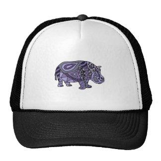 Funny Hippo Abstract Art Cap