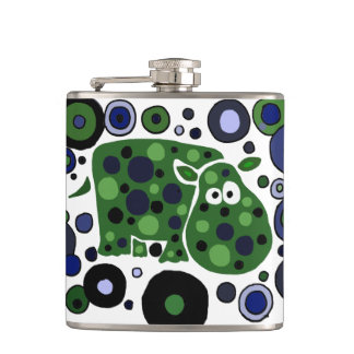 Funny Hippo Art Abstract Hip Flask