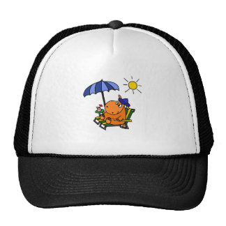 Funny Hippo at the Beach Hats