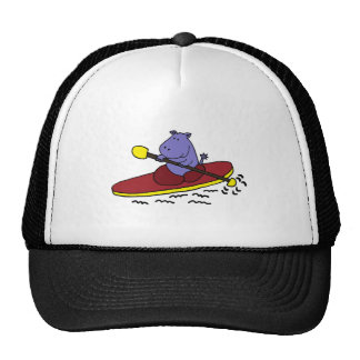 Funny Hippo Kayaking Cartoon Cap