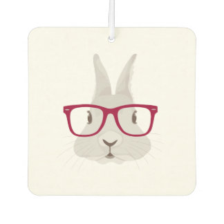 Funny Hipster Easter bunny with red rim glasses Car Air Freshener