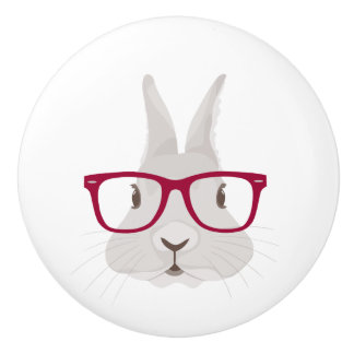 Funny Hipster Easter bunny with red rim glasses Ceramic Knob