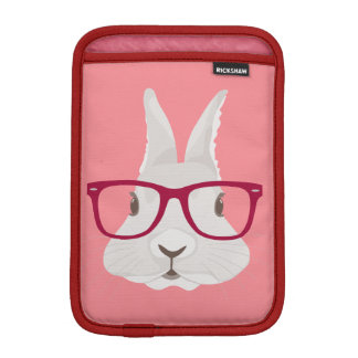 Funny Hipster Easter bunny with red rim glasses iPad Mini Sleeve
