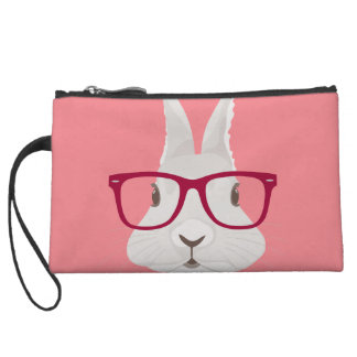 Funny Hipster Easter bunny with red rim glasses Wristlet