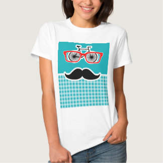 Funny hipster mustache; Blue-Green Gingham Tshirt