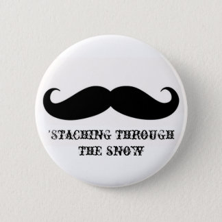 Funny hipster mustache holiday xmas mustaches 6 cm round badge