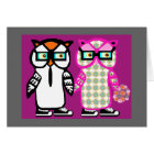 Funny Hipster Owls Happy Anniversary Card