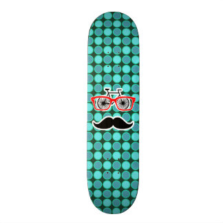 Funny Hipster Turquoise Polka Dots Skate Board Deck