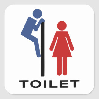Funny His Hers Toilet Sign - Women Restroom Sign Square Sticker