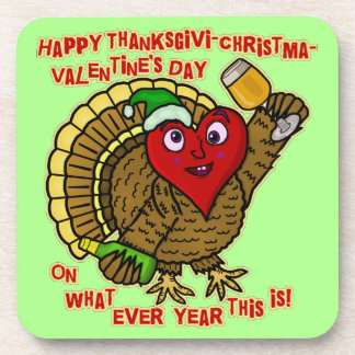 Funny Holiday Drunk Turkey Heart Beverage Coaster