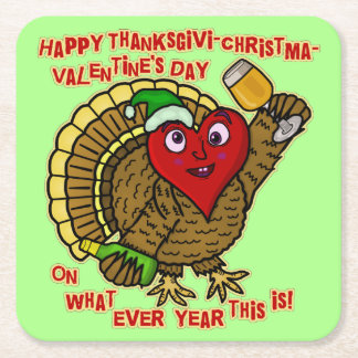Funny Holiday Drunk Turkey Heart Square Paper Coaster