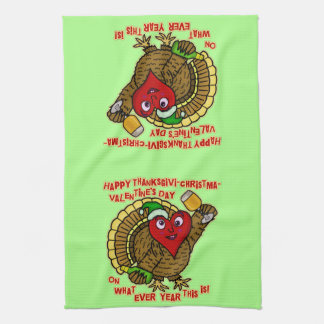 Funny Holiday Drunk Turkey Heart Hand Towels