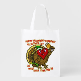 Funny Holiday Drunk Turkey Heart Grocery Bag