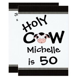 Funny Holy Cow 50th Birthday Party Invitation