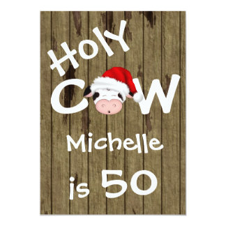 Funny Holy Cow 50th Christmas Holiday Birthday 13 Cm X 18 Cm Invitation Card