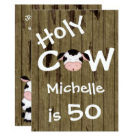 Funny Holy Cow 50th Humourous Birthday Invitation