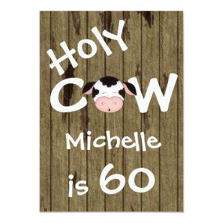 Funny Holy Cow 60th Humorous Birthday Invitation
