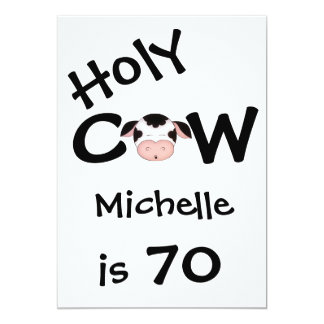 Funny Holy Cow 70th Birthday Party Invitation