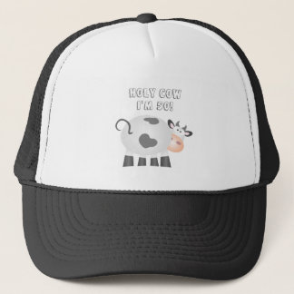 Funny Holy Cow I'm 50 Birthday Over The Hill Trucker Hat