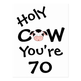 Funny Holy Cow You're 70 Birthday Postcard