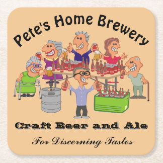 Funny Home Brewery Beer Party Cartoon Square Paper Coaster