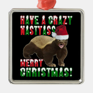 Funny Honey Badger Merry Christmas Ornament