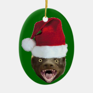 Funny Honey Badger Santa Hat Christmas Ornament