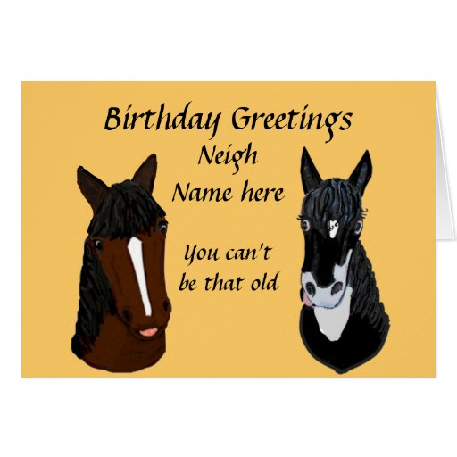 Funny Horse Birthday Card Add Name Front