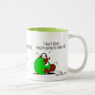Funny Horse & Butterfly Cartoon Two-Tone Coffee Mug
