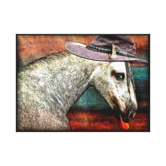 FUNNY HORSE  CANVAS PRINT. HORSE WITH COWBOY HAT