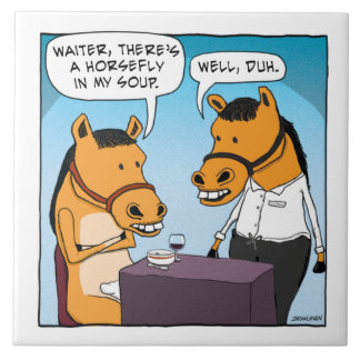 Funny Horse Complains About Horsefly in Soup Ceramic Tile