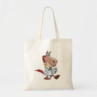 funny horse doc doctor cartoon tote bag