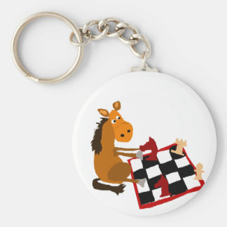 Funny Horse Playing Chess Art Original Key Ring