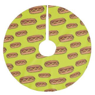 Funny Hot Dog Food Design Brushed Polyester Tree Skirt