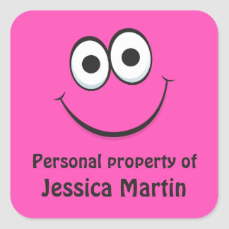 Funny hot pink cartoon face property labels tags square sticker