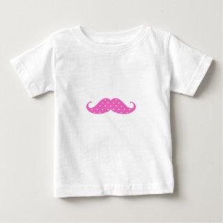 Funny Hot Pink Girly  Polka Dots Mustache Baby T-Shirt