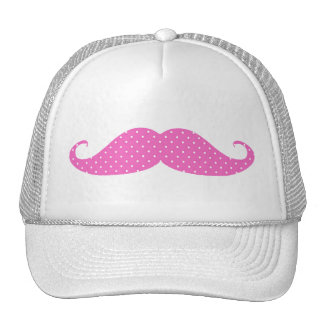 Funny Hot Pink Girly  Polka Dots Mustache Cap